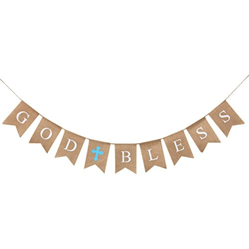 WATINC God Bless Baptism Banner, Communion Party Banner, Christening Decoration Kit for Wedding, Baby Shower Party, First Communion (Blue) ()
