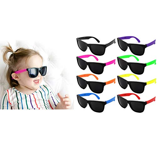 (Edge I-Wear Kids 8-Pack Neon Sunglasses CPSIA Certified Lead (Pb) Content Free UV Protection Dark Lens. (Made in Taiwan) 9402RA/SET-8)