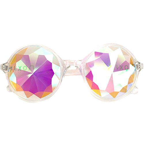 Premium Clear NOXIK Kaleidoscope Glasses - Best Rave Diffraction Glass Crystal - Crystal Sunglasses