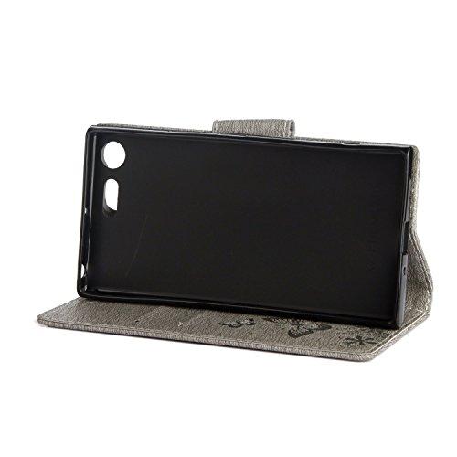 Funda Sony Xperia XZ Premium, SsHhUu Funda PU Piel Genuino Carcasa en Folio [Ranuras para Tarjetas] [Cierre Magnetico] con Acollador para Sony Xperia XZ Premium (5.46) Rojo Rose Gris