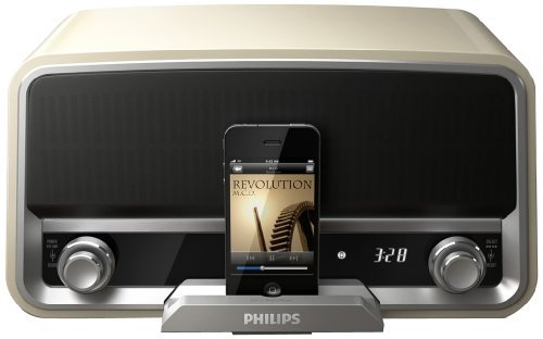 Philips ORD7100C/37 Original Radio 30-Pin Charging Speaker Dock for iPod/iPhone (Cream) (Philips Clock Radio)