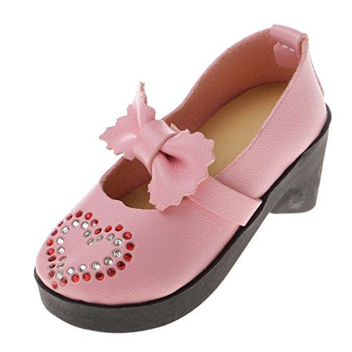 3 Paio Bambole Bjd Scarpe Round Di Prettyia Lolita Bowknot P Per Tacco Rosa 1 Grosso toe Cqpx7OW