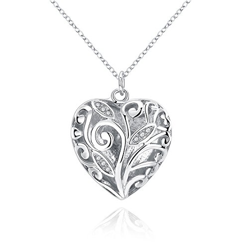 Price comparison product image Tree of Life Heart Pendant Necklaces for Women Girl Heart Pendant Plated Sterling Silver Necklace, with BuycitKy PU Jewelry Pouch