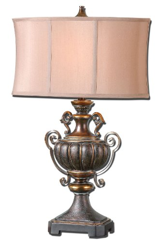 Uttermost Olona Bronze Table Lamp with Crackled Dark Bronze Finish With A Light Gray Glaze