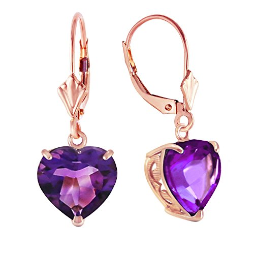6.2 Carat 14k Solid Rose Gold Leverback Earrings with Natural 10mm Heart Shaped Amethysts