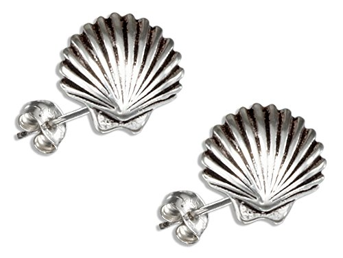 Sterling Silver Mini Scallop Shell Earrings on Stainless Steel Posts and ()