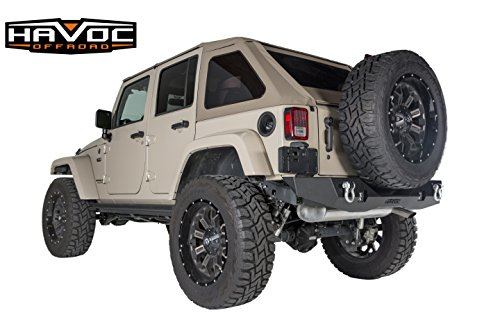 Havoc Offroad Aftershock Mid Width Offroad Rear Bumper with LED Cube Cut Out 2007-2017 Jeep JK Wrangler