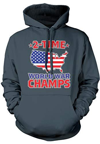 Amdesco Men's 2 Time World War Champs Hooded Sweatshirt, Charcoal Gray Large