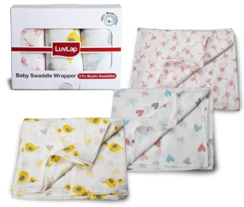 LuvLap 100% Cotton Muslin Baby Swaddles – Birds Print 0+ Month, White