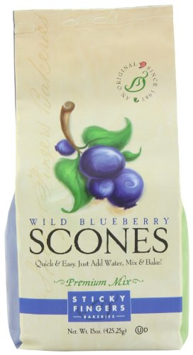 Blueberry Scone - Sticky Fingers Wild Blueberry Scone Mix, 15-Ounces (Pack of 3)