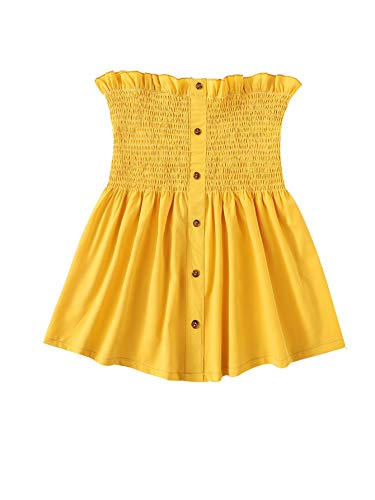 SheIn Women's Frill Strapless Ruffle Hem Pleated Bandeau Tube Peplum Top Blouse Medium Yellow#2