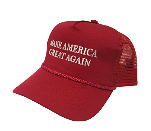 Campaign Adjustable Unisex Hat Cap Make America Great Again! Donald Trump'16 (Red Embroidery) -