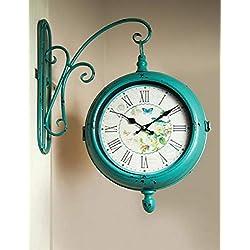 CC Home Furnishings Greenish Blue and White Bracket Analog Wall Clock 15.75 x 3.75 x 19.5