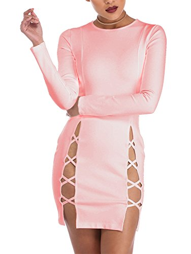 TOB Women's Sexy Summer Bodycon Long sleeves Lace up Mini Club Dress Pink