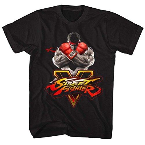 A&E Designs Street Fighter Shirt V Logo 2 T-Shirt (4XL, Black)