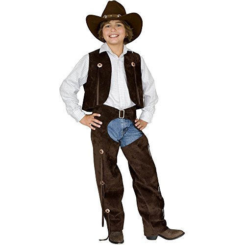 Kids Brown Leather Cowboy Chaps and Vest - Small -