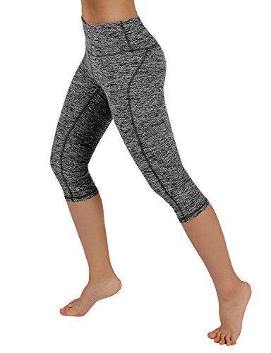 ODODOS Power Flex Yoga Capris Tummy Control Workout Non See-Through Pants with Pocket,CharcoalHeather,Small -