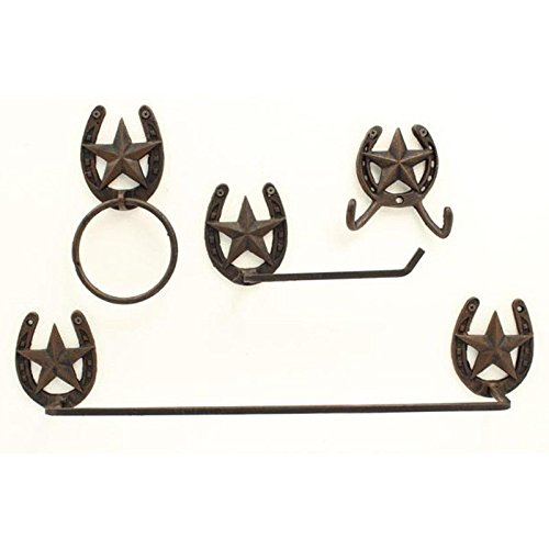 Western Bath Decor (M F Western Products MF Horseshoe and Star 4 Piece Bathroom Set)