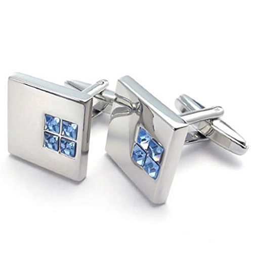 Epinki Men's Stainless Steel Cufflinks Cubic Zirconia Silver Blue,Cufflinks For Business (Duke Blue Devils Cufflinks)