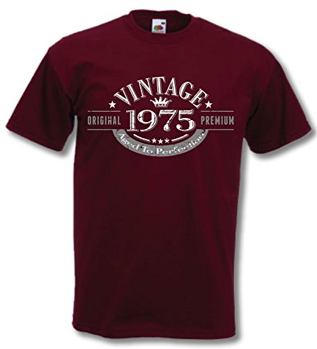 1975 Vintage Year, Aged to Perfection - 40th Birthday Gift Present T-Shirt Mens Burgundy L