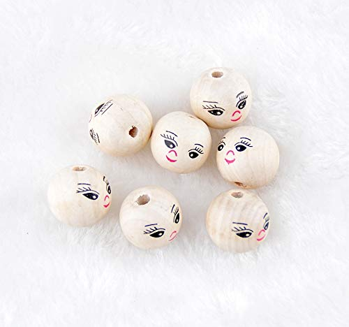 Pukido - Nature 100pcs Smiling Face Wooden Beads Wood Spacer Beads 14mm for Fashion Jewelry Making DIY - Face Spacer Beads