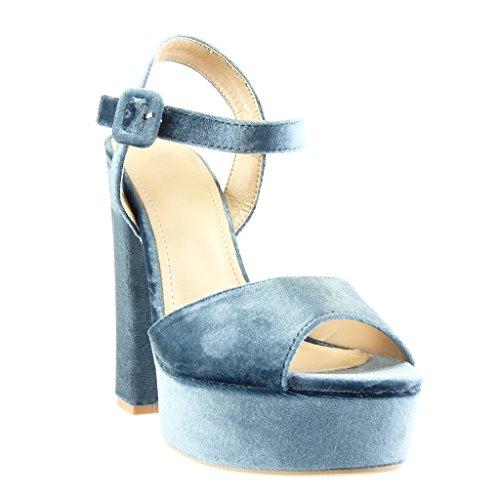 Alto Sandali Zeppe Blu con Blocco Decollete Tanga Tacco Donna Tacco 14 Scarpe cm a Angkorly Sexy Moda aYqEwRYO