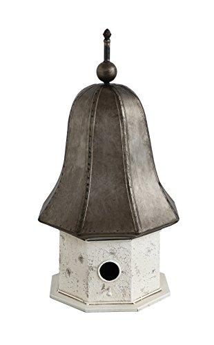 Creative Co-op DA7560 Distressed Cream & Bronze Decorative Metal Birdhouse