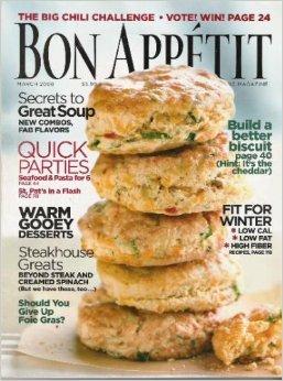 Bon Appetit Magazine March 2006 - Secrets to Great Soup, Quick Parties, Warm Gooey Deserts, Steakhouse Greats, Build a Better Biscuit, Fit for Winter