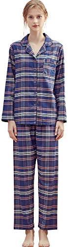 KENMAX Womens 100% Cotton Pajama Set Long Sleeve Loungewear Soft PJS Button Down Sleep Wear