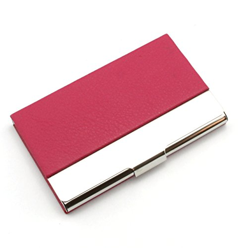 Partstock(TM) Litchi Profile PU Leather & Stainless steel Business Name Card Holder Wallet Credit card ID Case / Holder 22 Name Cards Case.(Rose Red)