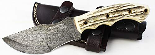 (Moorhaus Handmade Raindrop Damascus Genuine Stag Tracker Knife Sub Hilt with Serrated Upper Spine - a Work of Art!)