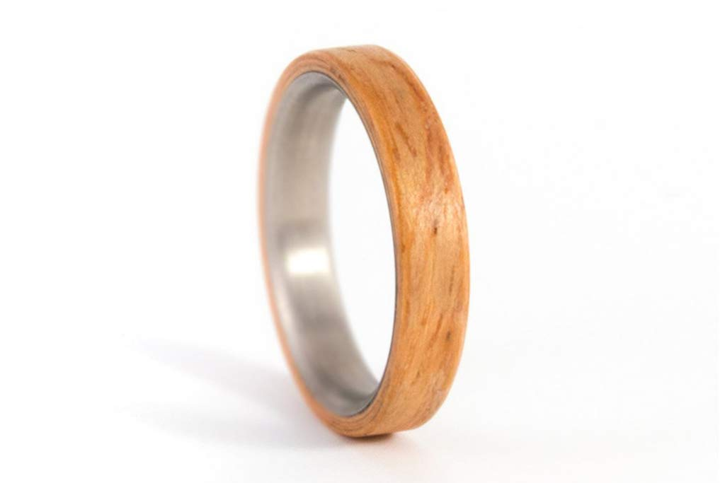 Handmade in Italy Hypoallergenic- W/&W Faith Collection Wedding Band Band Ring in Pure Titanium and Wood