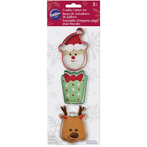 Wilton 3 Piece Holiday Metal Cookie Cutter Set (Santa, Present & Reindeer)