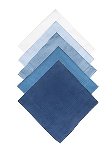 Selected Hanky 100% Pure Cotton Handkerchief with Stiching, 5 Piece, Assorted Color, 5 Colors-1, One Size
