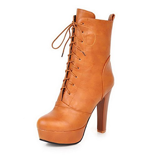 BeanFashion Women's Pu Lace-Up Mid-Top High-Heels Round Closed Toe Solid Boots, Yellow-Platform, - Girl Boots Platform Spice