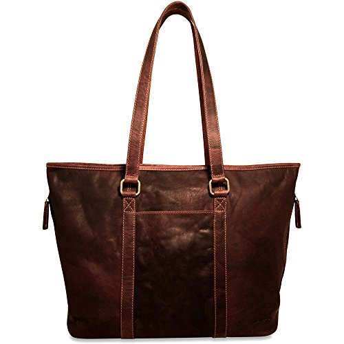(Jack Georges Voyager Shopper Zip Top Tote Bag, Leather Handbag in Brown)