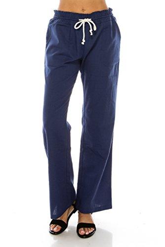 Me in California Women's Comfy High Waist Smocked Waistband Drawstring Wide Leg Linen Trouser with Pockets Indigo Medium LP1004 - Indigo Wide Leg Trousers