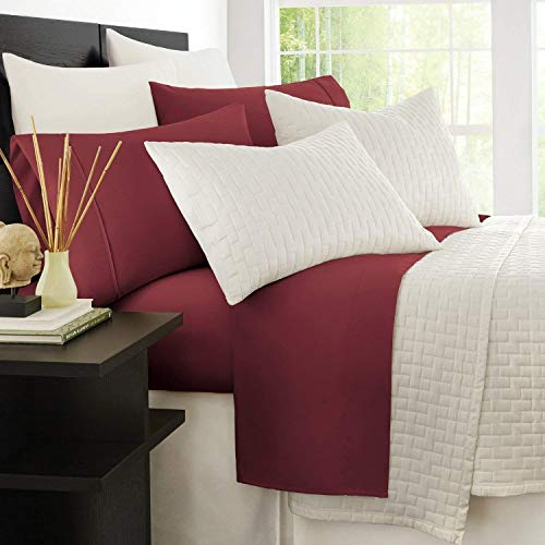 Zen Bamboo 1800 Series Luxury Bed Sheets - Eco-friendly, Hypoallergenic and Wrinkle Resistant Rayon Derived From Bamboo - 4-Piece - Queen - Burgundy (Sheets Burgundy Queen)
