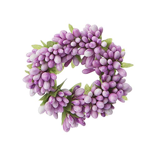 (DCC Small Artificial Purple Berry Candle Wreath,)