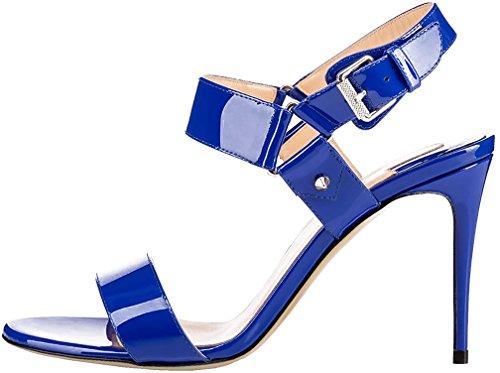 Calaier Mujer Caspend Tacón De Aguja 10CM Sintético Hebilla Sandalias de vestir Zapatos Azul