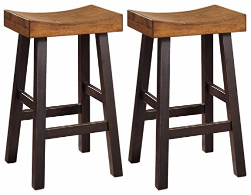 Bar Stool Saddle Style (Ashley Furniture Signature Design - Glosco Barstool Set - Pub Height - Vintage Casual - Set of 2 - Two-Tone)
