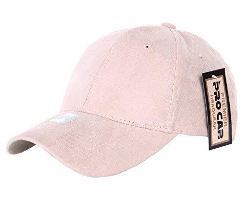 RufnTop Classic Faux Leather Suede Adjustable Plain Baseball Cap(Peach OS) ()