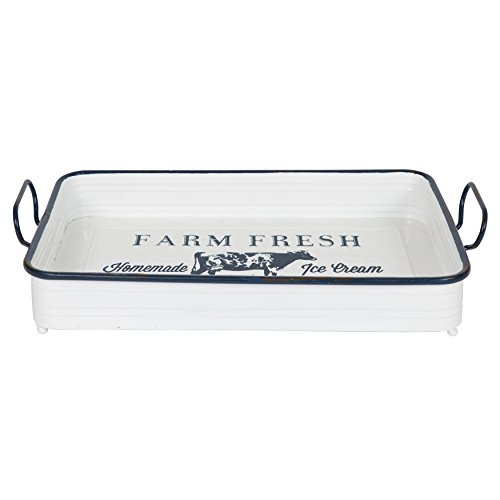 Kate and Laurel Farm Fresh Decorative Rectangular Metal Serving Tray, White Enamel Finish with Distressed Navy Blue Trim and Handles, 17 x 10.5