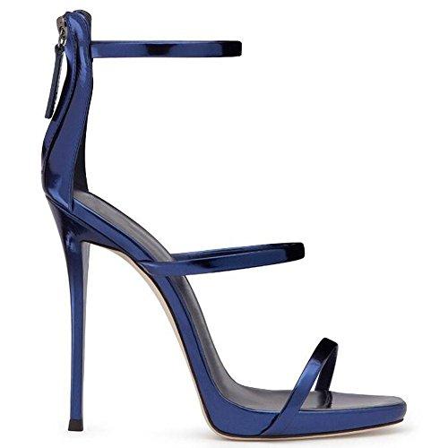 L@YC Mujeres De Verano De Tacones altos Piel Brillante Bolsa abierta Con Sandalias Vestido De Danza Vestido De La Bomba Blue