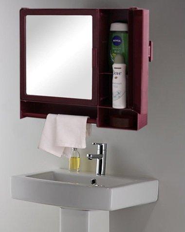 Zahab Smart Two Door Plastic Bathroom Cabinet With Mirrortowel Rod