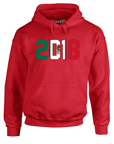 (Mexico 2018, Adults Printed Hoodie - Red M)