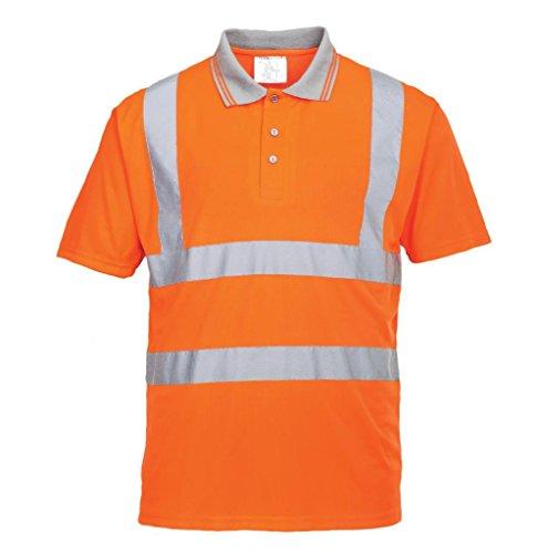 Portwest Regular Fit Hi-Vis kurzen Ärmeln Poloshirt Go/Rt, URT22ORRXXL
