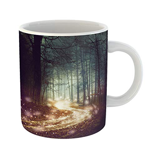 Emvency Coffee Tea Mug Gift 11 Ounces Funny Ceramic Fantasy Forest Firefly Lights Magic Colored Woodland Fairy Tale Dreamy Foggy Gifts For Family Friends Coworkers Boss Mug -