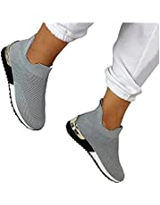 Elegante Elastische Instappers Platte Schoenen,Dames Platte Schoenen Mode Sneakers,Lichtgewicht Ademend Mesh Running Damessneakers voor Dames,Jogging Schoenen