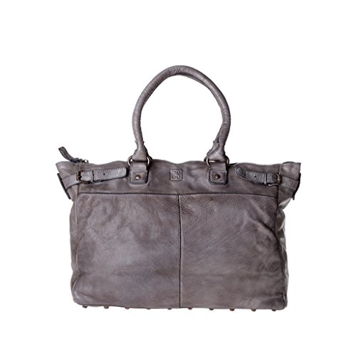 Borsa lavata in pelle tinta in capo da donna con borchie DUDU Gray Stone